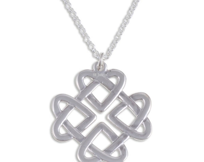 925 Sterling Silver Celtic Heart Love Knot Pendant  on 18  inch Sterling Silver Belcher Chain.