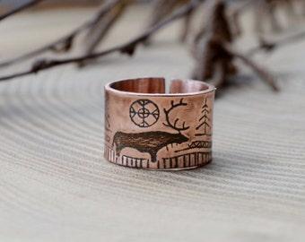 Copper ring, Deer in forest, nordic Men band, travel gift, Polar Fantasy, shamanian illustration, Rock paintings, Primitive ring