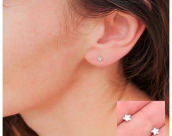 Tiny Star Earrings - Genuine Sterling Silver uRn3WhSE