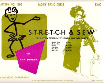 1960's Vintage Sewing Pattern Stretch & Sew 1500 Ladies' Basic Dress Bust Sizes 28-42
