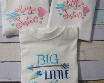 Little Sister, Big Sister, Little Brother Big Brother, clothing, t shirt, body suites, Sibling shirts. Feathers , arrows, perfect for photos
