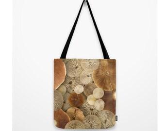 Gills Galore Mushroom Bag Cover Natural History Mushroom Gills Fungi Mycology Woodland Scene Forest Scene