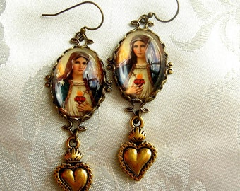 Vincenzas Faith - Immaculate Heart of Mary Earrings with Flaming Sacred Heart