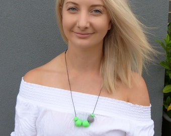 Green + Grey Polymer clay necklace