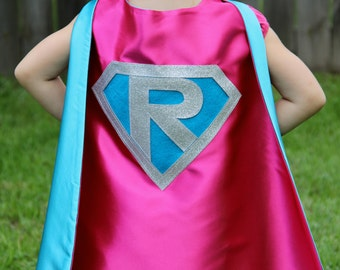 Sparkle GIRLS Superhero Cape Personalized - Customize with your child's initial - Kid Costume - Girl Superhero