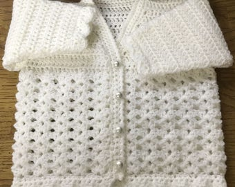 PDF Instant Download Baby Crochet Pattern in DK. (Made in one piece to armholes) Sizes Birth to 6 years (1025)