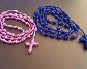 Knotted Catholic Rosary in Various Colors - Large