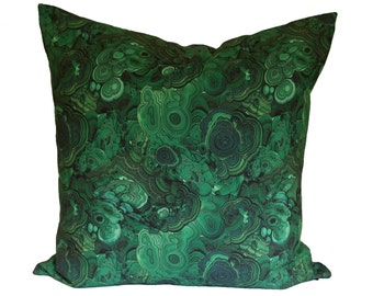 Malachite Decorative Pillow Cover - Emerald Green - Made to Order