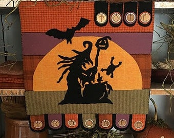 Wool Applique Primitive Toil and Trouble Pattern