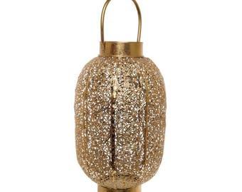 Luxurious Darien Filigree Cylinder Lantern Candle Holder Gold (20cm D x 37cm H)