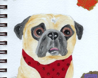 "Pug Print - Sketchbook Series - Watercolor & Collage - ""Landlubber"""