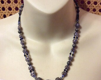 Vintage 1970's Victorian look metal beads purple rhinestones necklace .