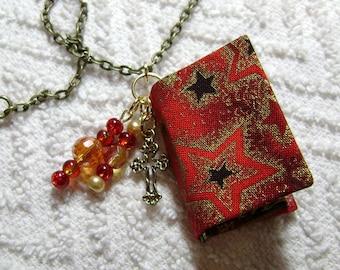 Star Fabric - Handmade Book Necklace - Book Jewelry - Book Pendant - Book Journal - Handmade Book - Gold Cross Charm - BN-135