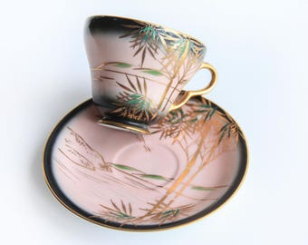 Hollywood Regency Asian Style Tea Cup & Saucer ~ Pink, Black, Gold, Green ~ Japanese Art ~ Bamboo Trees