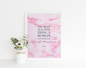 Beyonce Quote Print - Pink Marble Wall Art Quote - Confidence Quote Print Wall Art  - Typography Quote Print Wall Art - Marble Print Quotes