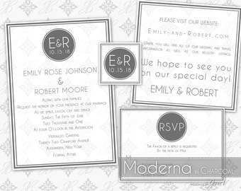 Printable Wedding Invitation Template Set | Editable Wedding Invitation Suite (5x7) | Instant Download | Moderna in Charcoal