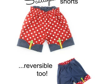 Girls Shorts Sewing Pattern Whimsy Couture Scalloped Shorts 12m through 16 girls PDF Instant