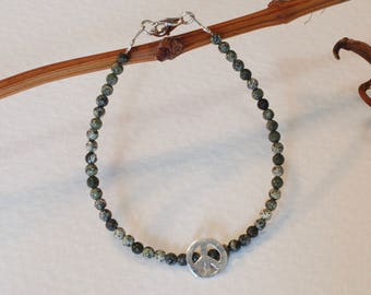 Silver bracelet and Peace with serpentine.