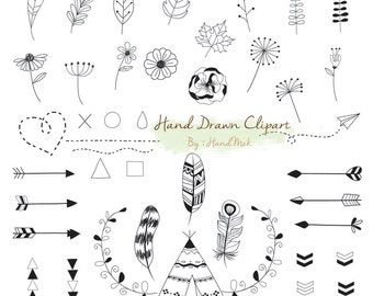 Hand Drawn clipart ,doodle clipart Instant Download PNG file - 300 dpi