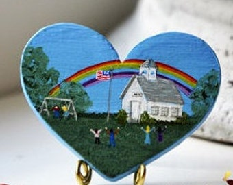 Little white schoolhouse under Rainbow and children very excited