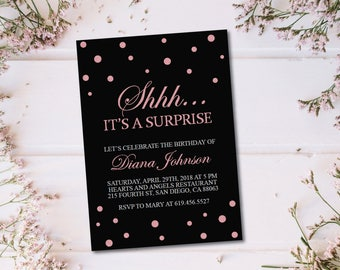 Shhh It's a Surprise Birthday Invitation/Printable Peach & Black Birthday Invitation Template/Baby Pink/Rose Gold/30th/40th/50th/60th/70th
