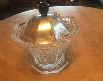 Pressed glass jam/ preserve jar with epns lid.
