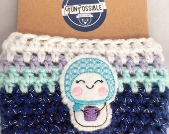 Snowgirl Crochet Coffee Cup Cozy