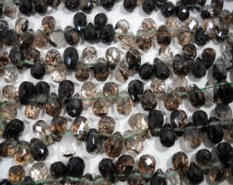 Black Rutilated Quartz Faceted Teardrop Beads 8mm - 9mm