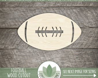Wood Football Cutout, Laser Cut Wood Football Shape, DIY Craft Supply, Football Decor, Many Size Options, Blank Wood Shapes