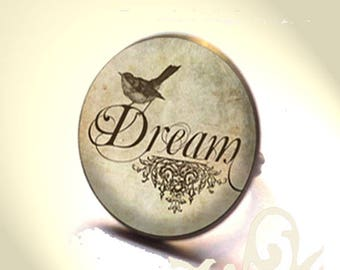 Bronze dream ring with glass dome.