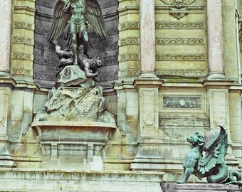 Heaven and Earth, Paris St-Michel Square, Color with Blk and White, Street Scene Paris Art Photo, 8x10