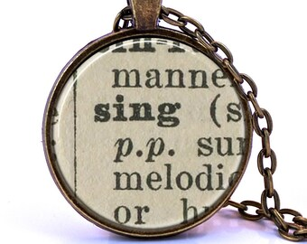 Sing Dictionary Pendant Necklace, Gift for Singer, Singing Gift, Music Lover Gift