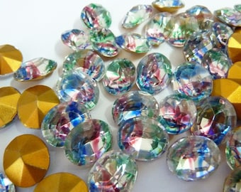 4 glass jewels, 12x10mm, crystal red blue green, oval