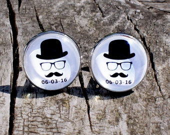 Moustache Cufflinks, Mustache Cufflinks, Novelty Cufflinks, Stag Party Cufflinks, BestMan Cufflinks, Save the date Cufflinks, 925 Silver