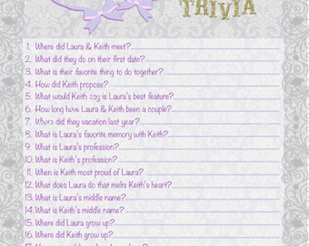 Personalized Bridal Shower Trivia Game - variety of colors/patterns available