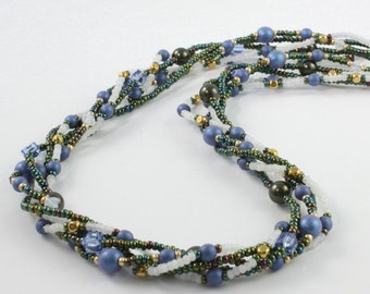 Royal Blue Necklace Forest Green Jewelry White Opal Multi Strand Jewelry Statement Necklace Gold Beadwork Necklace Fall Fashion Jewelry