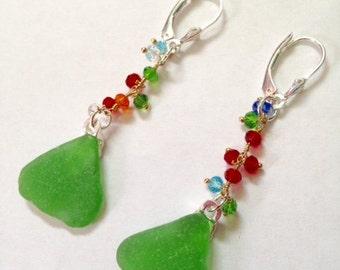 """Green Sea Glass Earrings - Sea Glass Jewelry - Swarovski chain - Beach Glass - Beach jewelry - sterling - Green earrings - """"Beach Garden"""