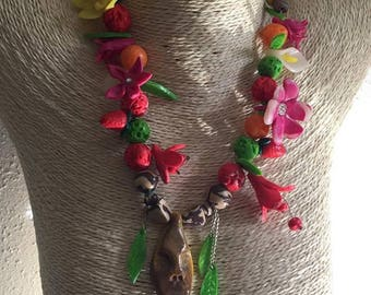 colorful mask and Flower necklace