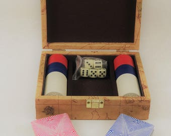 Vintage Faux Leather Playing Card Box/Holder For Decks of Cards, Dice and Poker Chips