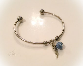 Stainless Steel Cuff Bracelet with Dangle Charms!