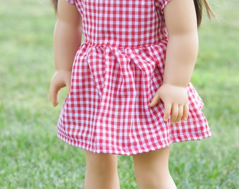 Red gingham babydoll dress