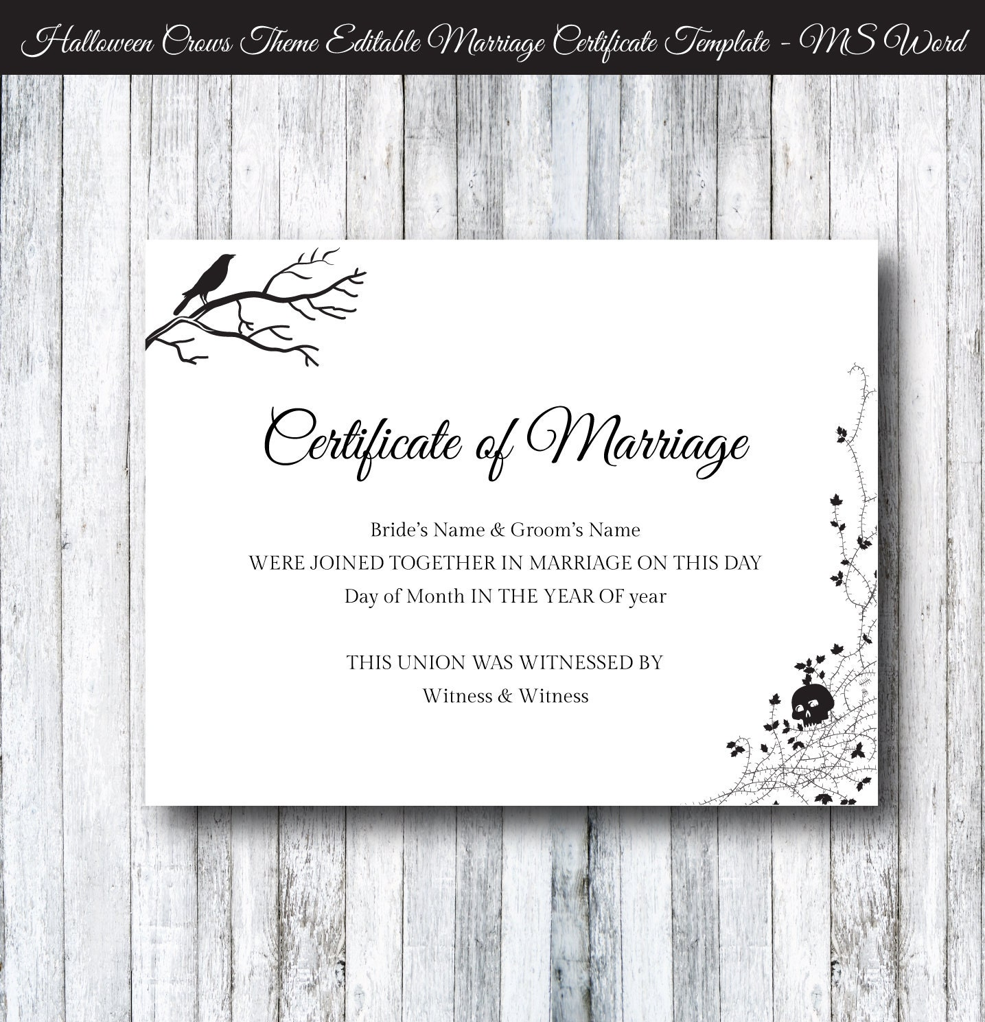Halloween wedding marriage certificate template diy printable zoom yadclub Gallery