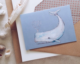 Whale Illustrated Blank Greeting Card