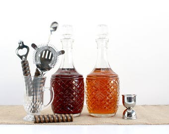 Vintage Cut Glass Decanters, Mid Century Modern Glass Decanters