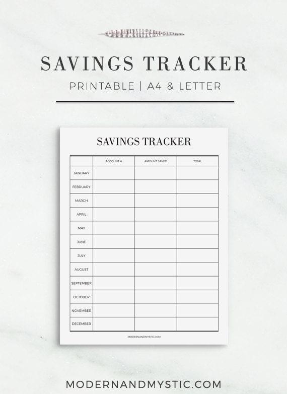 Savings Tracker Printable Personal Savings Planner Finance