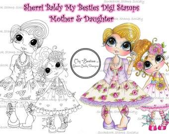 INSTANT DOWNLOAD Digital Digi Stamps Big Eye Big Head Dolls Digi  Mother And Daughter Besties  By Sherri Baldy