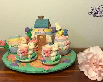 Miniature Poly-Resin Easter Tea Set, Easter Tea Set, Doll Tea Set, Mini Tea Set, Easter Egg Shaped Tea Set, Fairy Garden, Spring Garden