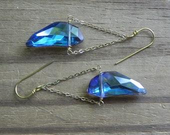 Blue moon mini chandelier earrings, Mystic blue crescent dangle earrings