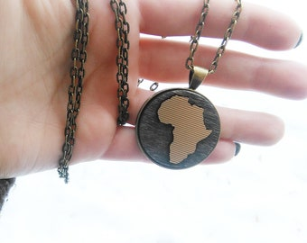 Africa Necklace / Africa Jewelry / African Pendant / Wanderlust /Africa Medallion / Gold Africa Pendant  / Hometown, Personalized