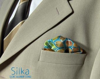 Green silk pocket square blue hand painted groomsmen gift  wedding accessorries light brown leaves mens  handkerchief
